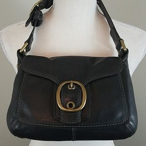 Coach Black Leather Bleecker Small Buckle Flap Bag